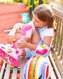 Little girl in roller skates Royalty Free Stock Photo