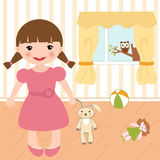 Little girl in a room Stock Photos
