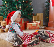 Little girl  in the room with Christmas decorations Royalty Free Stock Photography