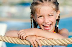 Little girl with a rope Royalty Free Stock Photography