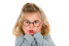 Little girl with round glasses Stock Photo