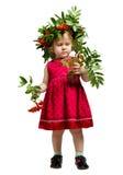 Little Girl rowan twigs and berries Stock Photos