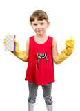 Little Girl in Rubber Gloves Royalty Free Stock Photography