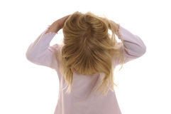 Little girl ruffled his hairs Royalty Free Stock Photos