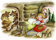 Little girl run away from three angry bears. Little girl run away from three angry bear`s house. Illustration of fairy tale Royalty Free Stock Photos