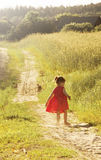 Little girl in run in a summer field. Toned Stock Images