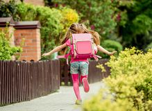 Little Girl Run To School Stock Image
