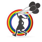 Little girl running with balloons Royalty Free Stock Images