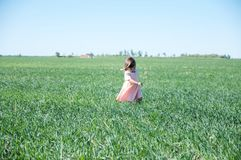 Little girl running in field on green grass at summer, happy smiling kid happy. Living Royalty Free Stock Image