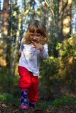 little girl running on the forest Stock Images