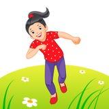 Little girl running vector illustration