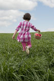 Little girl running in meadow Royalty Free Stock Photo