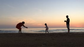 Silhouette slow motion video of happy family vacation. stock video