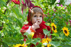 Little girl in Russian national dress Royalty Free Stock Images