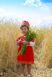 Little girl in the Russian national sundress Royalty Free Stock Photography