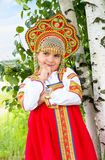 Little girl in Russian national a sundress Royalty Free Stock Photography