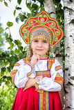 Little girl in Russian national a sundress Stock Photography