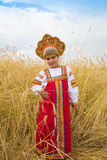 Little girl in Russian national a sundress Royalty Free Stock Image