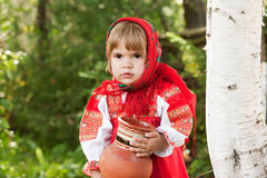 Little girl in Russian traditional dress Royalty Free Stock Photo