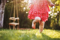Little girl`s bare feet in the grass. royalty free stock photos