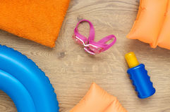 Little girl's beach accessories Stock Photography