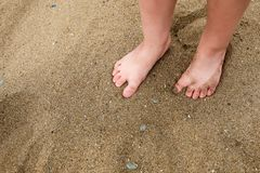 A little girl`s / child`s feet in the sand on a beach stock image