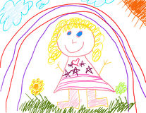 Little Girl's Drawing Royalty Free Stock Photo