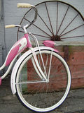 Little Girl's Dream. Vintage Pink Bike at Antique Shop Stock Images