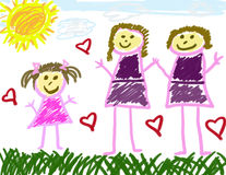Little girl's family. Little girl's drawing of her happy family life Stock Photography
