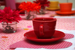 Little Girl's Tea Party. Close up of Red Tea Cup at a Little Girl's Tea Party Royalty Free Stock Photos