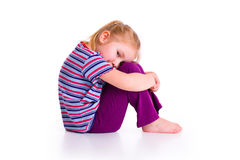 Little girl with sad expression. Studio shot of little girl with sad expression Stock Photography