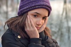 Portrait of Hispanic Girl Looking Sad Royalty Free Stock Images