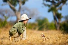 Little girl on safari Royalty Free Stock Image
