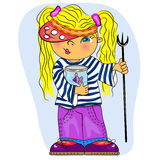 Little girl sailor fishing. cartoon sum Stock Image
