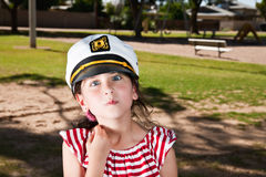 Little Girl in Sailor Hat Royalty Free Stock Photography