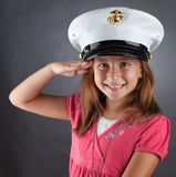 Little Girl Saluting Royalty Free Stock Images