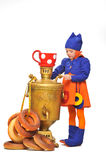 Little girl with samovar Royalty Free Stock Image
