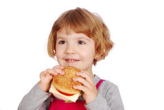 Little girl with sandwich Royalty Free Stock Photography