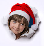Little girl with santa cap Royalty Free Stock Image