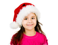 Little girl in a santa claus hat Royalty Free Stock Photos