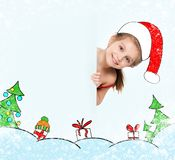 Little girl in the santa claus hat Royalty Free Stock Photos