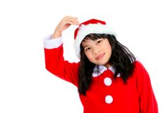 little girl in a Santa costume ,Christmas concept Royalty Free Stock Photography