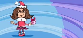 Little girl santa greeting card cartoon Stock Images