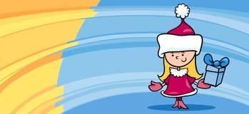 Little girl santa greeting card cartoon Stock Photos