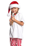 Little girl in Santa hat Royalty Free Stock Image