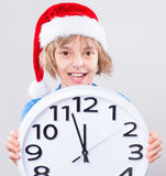 Little girl in santa hat Stock Photography