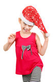 Little Girl in Santa Hat Stock Photos