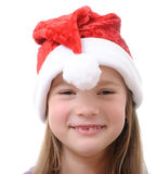 Little girl in Santa hat on white background Royalty Free Stock Photography
