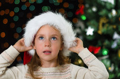 Little girl in santa's hat Royalty Free Stock Image