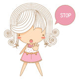 Little girl say stop. The illustration of little girl say stop Royalty Free Stock Photography